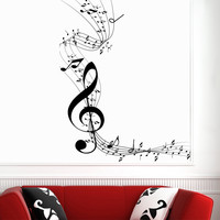 Wall Decal Notes Treble Clef Stave Music Musical Instrument Design Wall Decals Rehearsal Room Bedroom Garage Window Stickers Home Decor 3952
