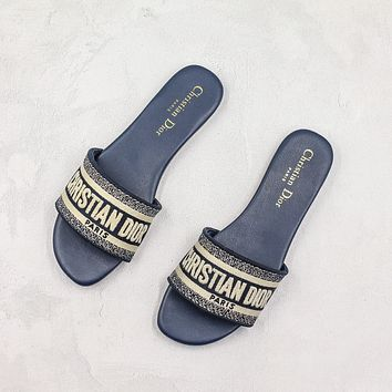 Dior Dway Embroidered Cotton Mule Sandals Slippers Sliders Summer Shoes Flip Flop-1