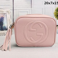 GUCCI Trending Women Leather Pure Color Tassel Shoulder Bag Crossbody Satchel Pink