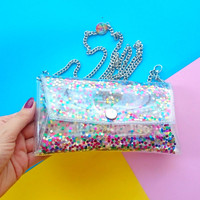 iphone chain bag,Phone Cases,Small crossbody colorfull sequins bag Cellphone Bag,clear Small Purse, cellphone bag,rainbow glitter, iphone 6