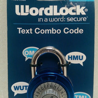 Wordlock text combo code lock for gym school lockers blue New with combination