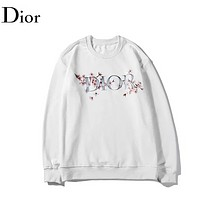 DIOR New fashion letter cherry blossoms floral couple long sleeve top sweater White
