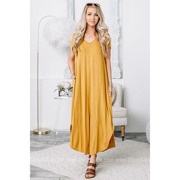 Dance With Me Scooped Hem Maxi Dress | Mustard