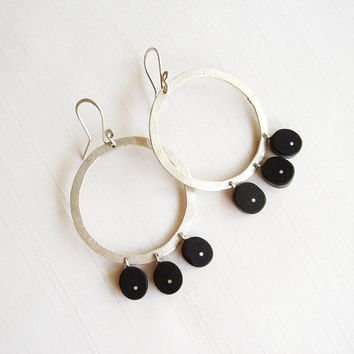 Sterling Silver and Ebony Big Circle Earrings - Black and Silver Round Earrings - Wood Original Contemporary Earrings - Contemporary Jewelry