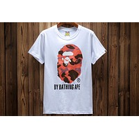 BAPE summer men's sultry head personality print short-sleeved round neck T-shirt F-A-KSFZ White