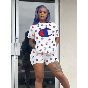 Champion Newest Popular Woman Casual Print Short Sleeve Top Shorts Set Two Piece Sportswear White