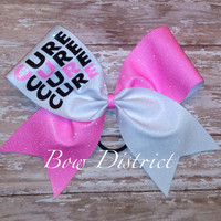 """3"""" Breast Cancer Awareness Neon Pink and White Cheer Bow"""