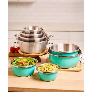 Colorful 4 Piece Dishwasher Safe Stainless Steel Mix & Storage Flat Bottom Bowl Set