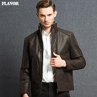 Men's real leather jacket Genuine Leather jacket men leather coat warm double face fur leather jacket