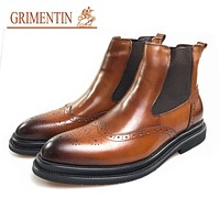 Men Boots Genuine Leather Brown Business Mid Calf Boots Luxury Formal Shoes