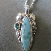 One of a Kind Sterling Silver Larimar & Apetite Pendant