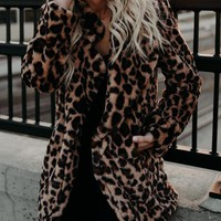 Brown Fluffy Lapel Leopard Print Long Sleeve Faux Fur Coat