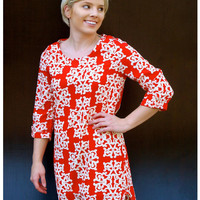 Red and White Abstract Print Shift Dress