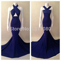 Real picture 2017 top quality two designs halter royal blue chiffon gorgeous mermaid prom dresses cheap girls dresses party