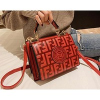 FENDI Trending Women Stylish Leather Handbag Bag Shoulder Bag Crossbody Satchel Red