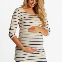 Beige Navy Striped Button Sleeve Maternity Top
