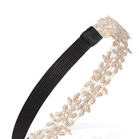 FOREVER 21 Crochet Floral Headband Champagne One