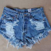 Levis High waisted shorts Distressed cheecky denim Hipster Festival Coachella clothing by Jeansonly