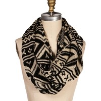 Black/Taupe Tribal Knit Infinity Scarf