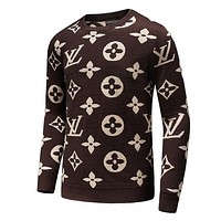 Louis Vuitton LV Autumn Winter Trending Stylish Long Sleeve Round Collar Sweater Pullover Top Coffee I/A