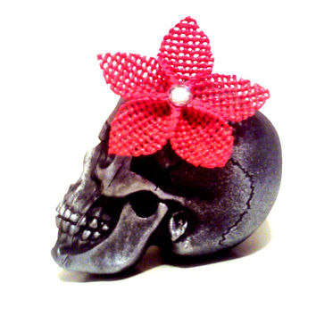 Neon Pink Hair, Pink Flower Clip, Pin Up Hair, Rockabilly Hair, Rocker Hair, Gem Hair Clip, Flower Hair Clip, Hot Pink Hair, Hawaiian Flower
