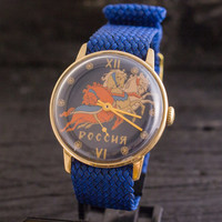 Vintage Pobeda mens watch with horses on the dial, vintage russian watch ussr cccp