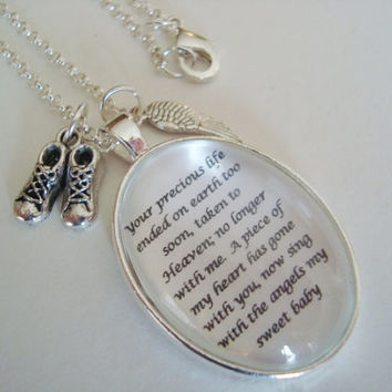 Miscarriage memorial pendant necklace, loss of a baby, Remembrance Jewelry, original poem