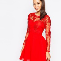Missguided Lace Sleeve Prom Dress