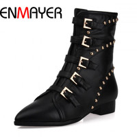 ENMAYERAnkle Boots Winter Cowhide high quality fashion buckle zip Genuine leather Boots Pointed toe Low heels Women Boots Tassel