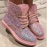 Women Fashion Sequins Martin Boots Shoess