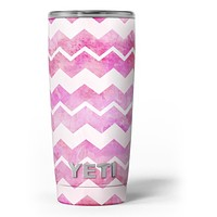 Pink Water Color with White Chevron - Skin Decal Vinyl Wrap Kit compatible with the Yeti Rambler Cooler Tumbler Cups