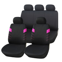 Adeco 9-Piece Car Vehicle Protective Seat Covers, Universal Fit, Black/Hot Pink Detail