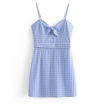 FREE SHIPPING Summer chest tie with bowknot hollowed-out blue and white plaid skirt