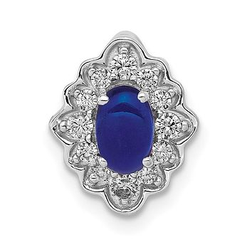 14k White Gold Fancy Real Diamond and Cabochon Sapphire Chain Slide