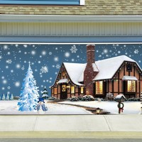 Christmas Garage Door Cover Banners 3d Snowman Christmas Tree Holiday Outside Decorations Outdoor Decor for Garage Door G79