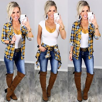 Penny Plaid Flannel Top - Mustard/Navy