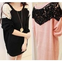 FREE SHIPPING 3 Color Sweet Lace Stitching Long Sweater XYZ9882 from DressLoves