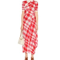 Knitted check cotton dress