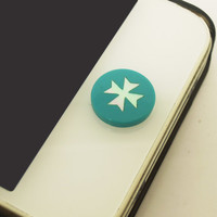 1PC Natural Shell Blue Cross iPhone Home Button Sticker Charm for iPhone 4,4s,4g,5,5c Cell Phone Charm Gift for Men