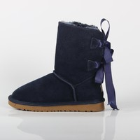 UGG winter new women's shoes women's double ribbon after the bow thickened boots blue