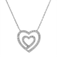 Sterling Silver and Cubic Zirconia Double Heart Pendant Necklace