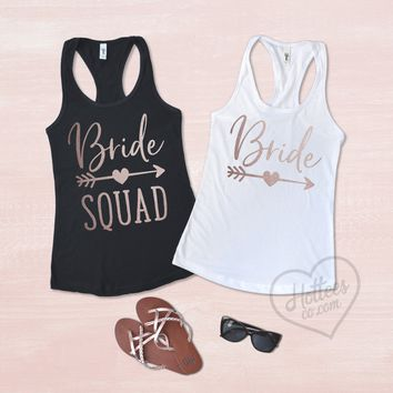 Bride and Bride Squad Bachelorette Party Tank Tops