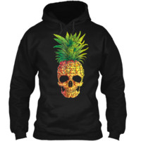 Pineapple Skull Aloha Beaches Hawaiian Hawaii Goth Pullover Hoodie 8 oz