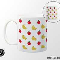 Apples and Bananas Pattern Coffee Mug - 11 oz Coffee Mug - Breakfast Food - Breakfast Mug - Breakfast Fruit - Cartoon Illustrations