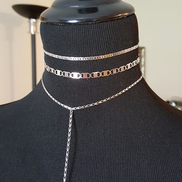 Dash Lariat and Flat Link Stainless Steel Choker available in Small and Large Link