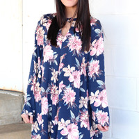Floral Fixation Keyhole Dress {Navy}