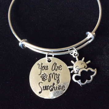 You are my Sunshine my only Sunshine Bracelet Adjustable Expandable Silver Plated Wire Bangle One Size Fits All Charm Bracelet