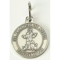 """Pet Collar Medallion - Reads  """" St. Francis Of Assisi Protect My Pet """""""