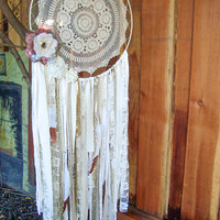 Large Dream Catcher, Boho Gypsy Crochet Wall Hanging with Flowers Glitter and Glam Nursery Decor Dream Catcher with Copper Dipped Feathers