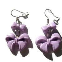 Purple Clay Double Bow Earrings from Mizziexoxo Boutique